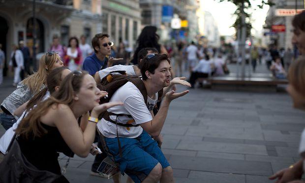 Straßenspiel ohne Smartphone: Beim ersten Festival von Play Vienna wurde unter anderem auf der Kärntner Straße