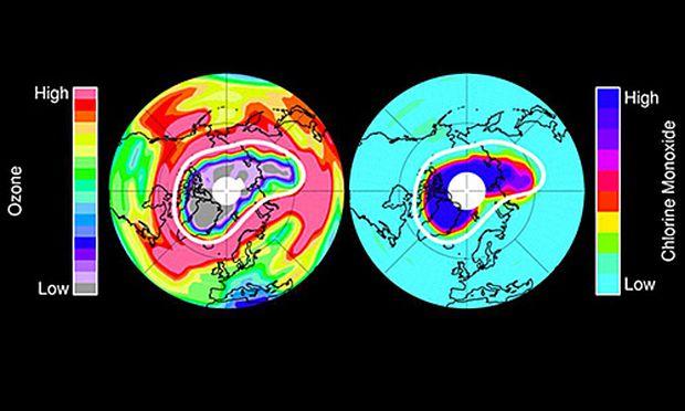 Riesiges Ozonloch ueber Arktis