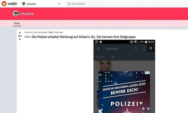 Screenshot der Anzeige auf dem Webportal Reddit