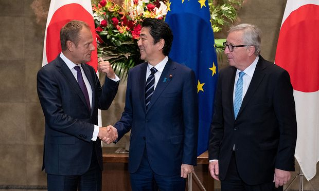 Japanese Prime Minister Shinzo Abe meets with European Commission President Jean-Claude Juncker and European Council President Donald Tusk at the Japanese Prime Minister office in Tokyo