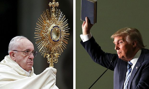 File photos show Pope Francis and Donald Trump