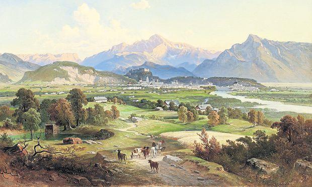 Fernblick auf die Stadt Salzburg vom Plainberg aus vom Maler Josef Mayburger, 1814.