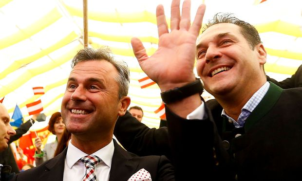 Leader of the Austrian Freedom party Strache and presidential candidate Hofer attends a May Day event in Linz