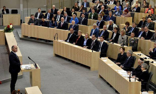 Nationalratspräsident Wolfgang Sobotka (ÖVP) während der Parlamentsveranstaltung zum Gedenken an die Opfer der Novemberpogrome am 9. November 2018
