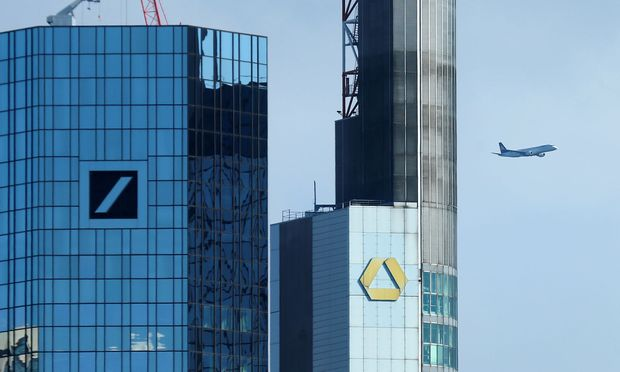 FILE PHOTO: Outside view of the Deutsche Bank and the Commerzbank headquarters in Frankfurt