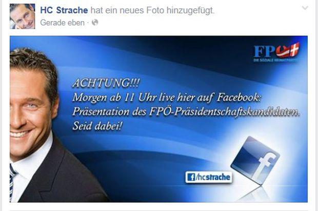 Posting von Strache auf seiner Facebook-Seite