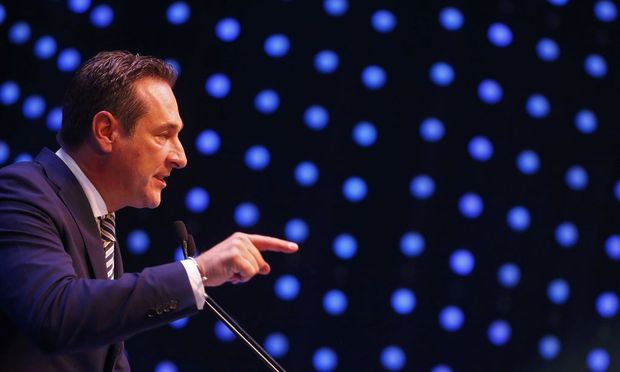 Austrian far right FPOe leader Strache speaks in Vienna