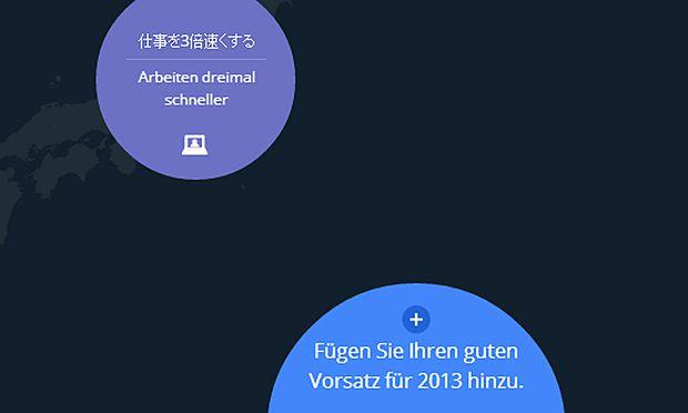 Google zeigt weltweite NeujahrsVorsaetze