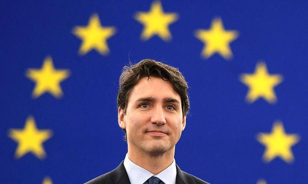 Trudeau in Straßburg.