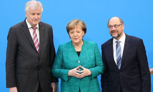 Seehofer, Merkel und Schulz.