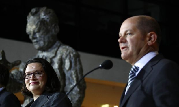 Nahles and Scholz of Social Democratic Party (SPD) make a statement at the party headquarters in Berlin