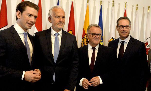 Kurz, Moser, Niessl, Strache nach dem Ministerrat