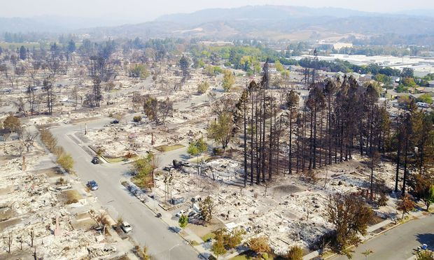 An aerial shows damage caused by wildfires in Santa Rosa