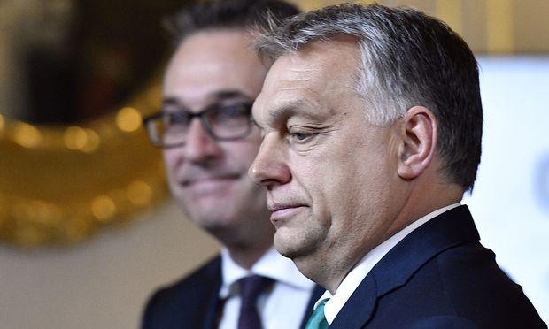 Ungarns Premier, Viktor Orbán, mit Vizekanzler Heinz-Christian Strache