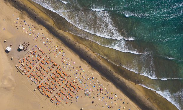 Aerial view of Maspalomas beach, Maspalomas, Gran Canaria, Spain.