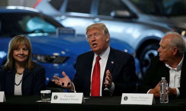 FILE PHOTO: Trump talks with auto industry leaders, including Barra and Williams at the American Center for Mobility in Ypsilanti Township