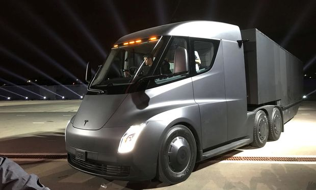 Tesla´s new electric semi truck is unveiled during a presentation in Hawthorn