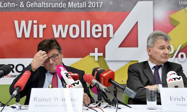 Rainer Wimmer, Boss der Gewerkschaft Pro-Ge (l.).
