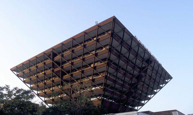Das Gebäude des Slowakischen Hörfunks ist eine umgedrehte Pyramide.