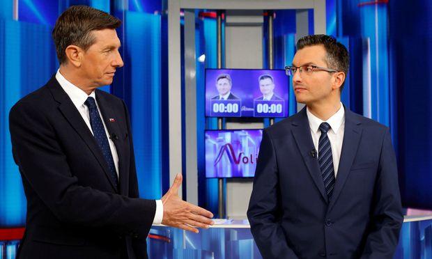 Borut Pahor und Marjan Šarec (r.).