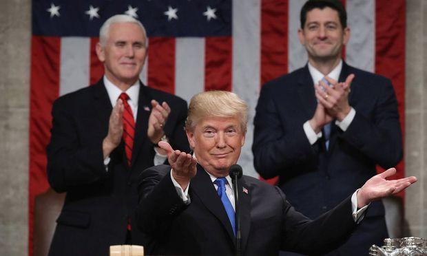 Donald Trump bei seiner ersten Rede zur Lage der Nation.