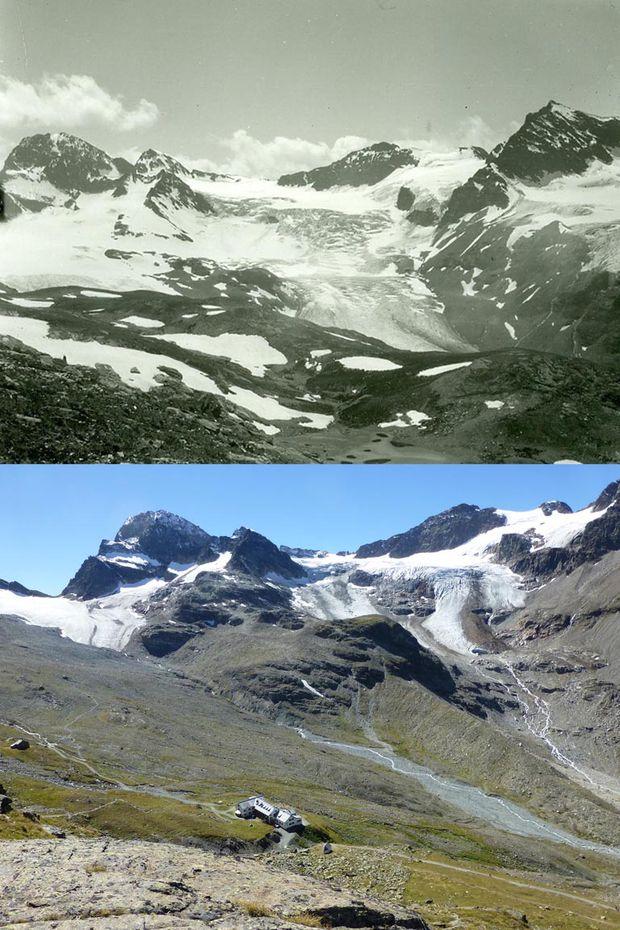 Der Ochsentaler Gletscher in der Silvretta vom Radsattel aus gesehen in den Jahren 1927/2013.