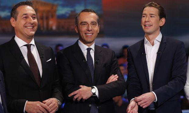 FPOe top candidate Strache, SPOe top candidate Kern and OeVP top candidate Kurz prepare for a TV discussion in Vienna