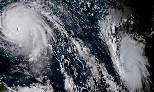 Ein Satellitenbild von Hurrikan Irma, dem Hurrican Jose folgt