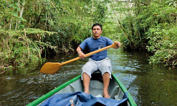 Glücklich. Naturführer Bolivar Cerda vom Stamm der Kachwa, dem die Napo Wildlife Lodge gehört.
