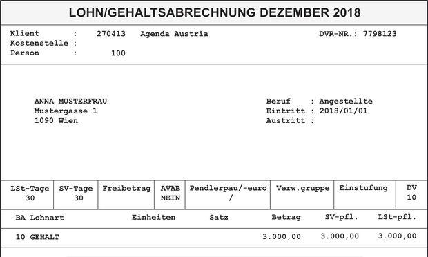 Muster für Lohnzettel über 3000 Euro brutto