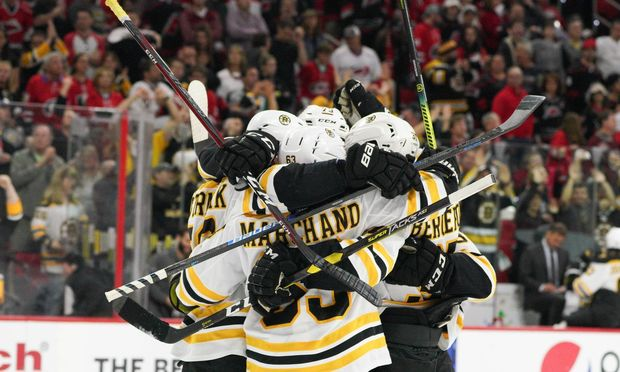RALEIGH NC MAY 16 Boston Bruins left wing Brad Marchand 63 and Boston Bruins right wing David