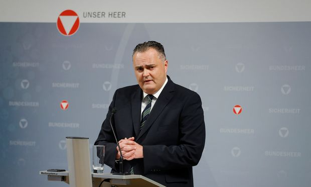 Austria´s Defence Minister Doskozil addresses a news conference in Vienna