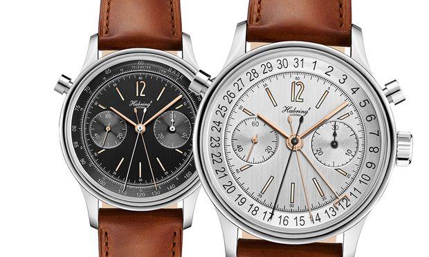Der doppelte Felix: Mit diesem Modell fügt die Kärntner Uhrenmanufaktur Habring² ihrer Kollektion einen Rattrapante hinzu. Preis: 7750 € bzw. 8250 € mit Datum.