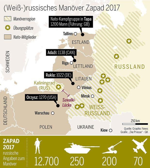 Karte des Manöverraumes samt Suwalki-Lücke und vorgeschobener Kampfgruppen der Nato