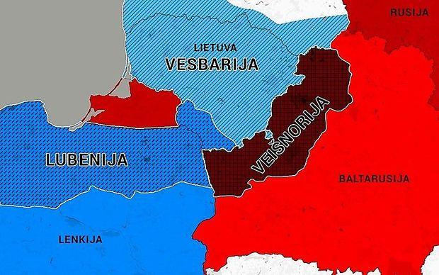 Litauische Darstellung von Weißrussland (Baltarusija) und den fiktiven Staaten des aktuellen Manövers
