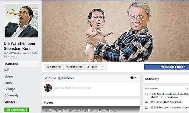 Screenshot der mittlerweile stillgelegten Facebookseite ''Die Wahrheit über Sebastian Kurz''