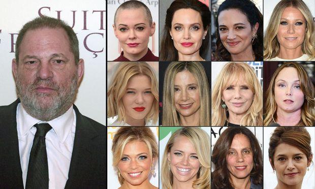 Harvey Weinstein mit einigen jener Frauen, die ihn wegen sexueller Belästigung oder Missbrauchs anklagen.