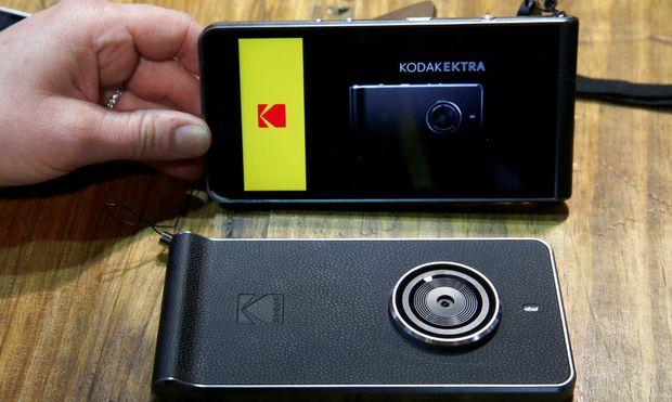 A Kodak Ektra smartphone is displayed during the 2017 CES in Las Vegas