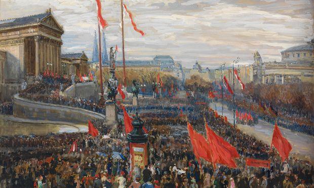 """Richard Konopas """"Ausrufung der Republik vor dem Parlament"""" ist in der Ausstellung """"Die erkämpfte Republik"""" im Wien-Museum zu sehen."""