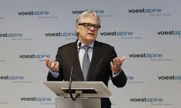 Voestalpine CEO Eder addresses a news conference in Vienna
