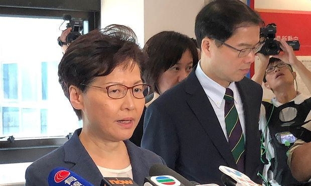 Hong Kong Chief Executive Carrie Lam speaks to media over an extradition bill protest in Hong Kong