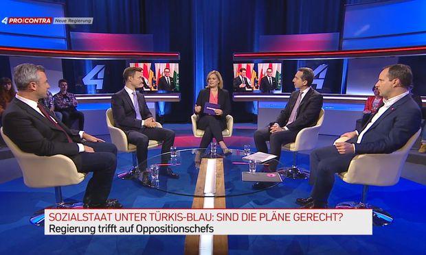 Am Mittwochabend diskutierten Medienminister Gernot Blümel, Infrastrukturminister Norbert Hofer und die Parteichefs Matthias Strolz (Neos) und Christian Kern (SPÖ) auf Puls 4.