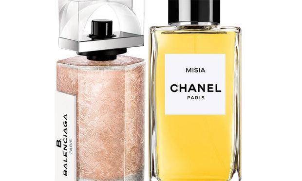 """Signaturen. """"B. Balenciaga"""" von Balenciaga, 50ml Eau de Parfum um 80 Euro. """"Misia"""" von Chanel, 75ml um 140 Euro (in Chanel-Boutiquen und bei Douglas, Kärntner Straße 26)."""