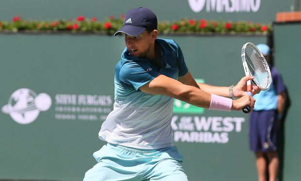 INDIAN WELLS CA MARCH 16 Dominic Thiem AUT hits a backhand during the semifinals of the BNP Pa