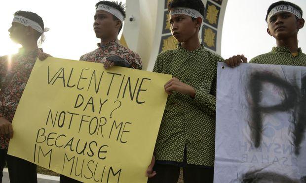 Indonesische Studenten protestieren.