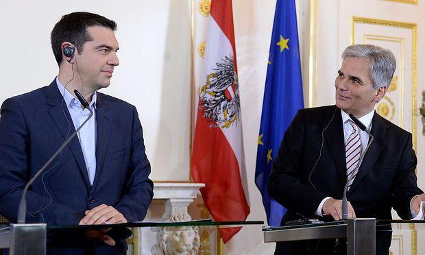 Alexis Tsipras bei seinem Besuch in Wien