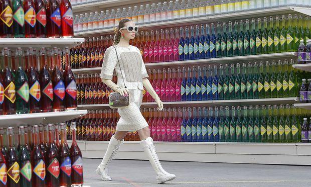 A model presents a creation by German designer Karl Lagerfeld.
