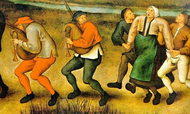 Epilepsie? Tanzwut? In einem Gemälde von Pieter Brueghel dem Jüngeren sieht man erkrankte Frauen bei einer Wallfahrt nach Molenbeek 1564.