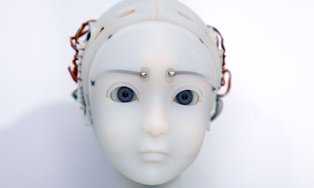 Dieser Roboter des japanischen Künstlers Takayuki Todo imitiert die Mimik seines Gegenübers. Zu sehen im Kunstverein Frankfurt.