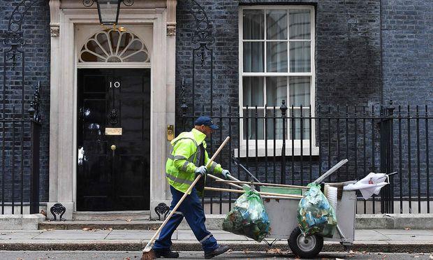 Theresa Mays Amtssitz, Downing Street Nummer 10 in London.